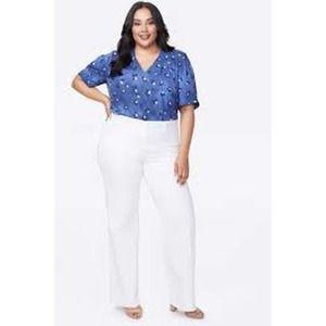 NYDJ Teresa white wide leg tummy control jeans HR